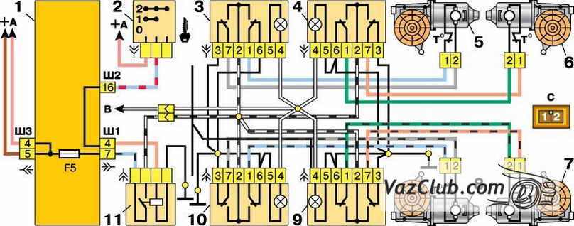 shema elektrosteklopodemnikov dverei - Схема подключения электростеклоподъемников ваз 2110