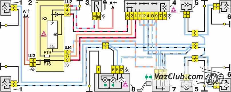 Схема указателей поворотов и аварийной сигнализации