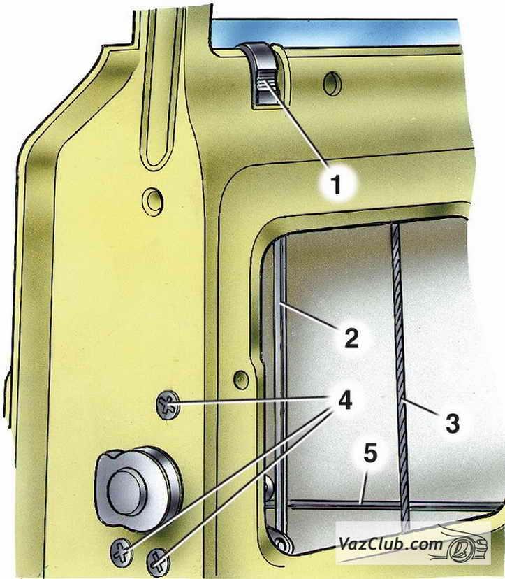 3 — трос стеклоподъемника;
