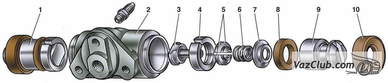 Детали колесного цилиндра: 1