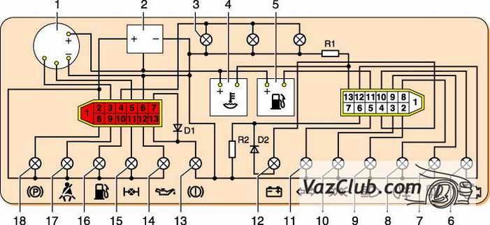 Схема щитка приборов ваз 2110