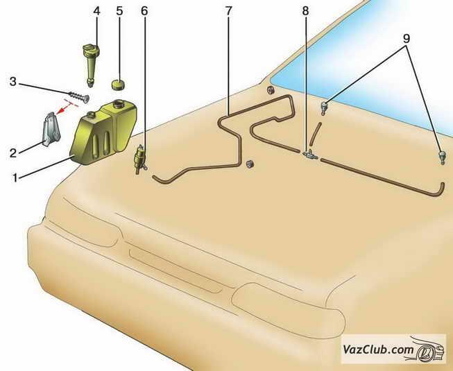 Схема подключения бачка омывателя