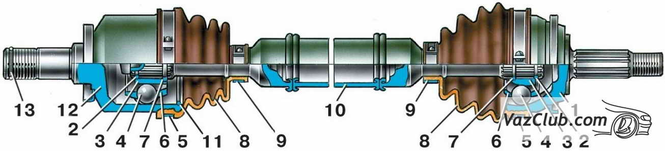 Привод переднего колеса ваз